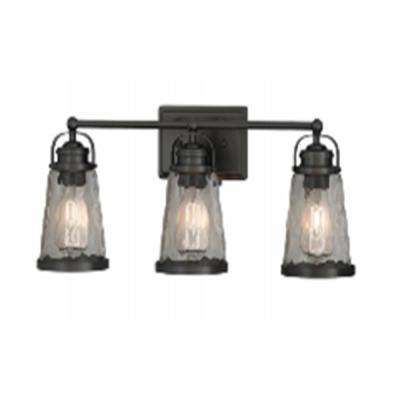 24 in. 3-Light Black Vanity Light with Water Glass Shades