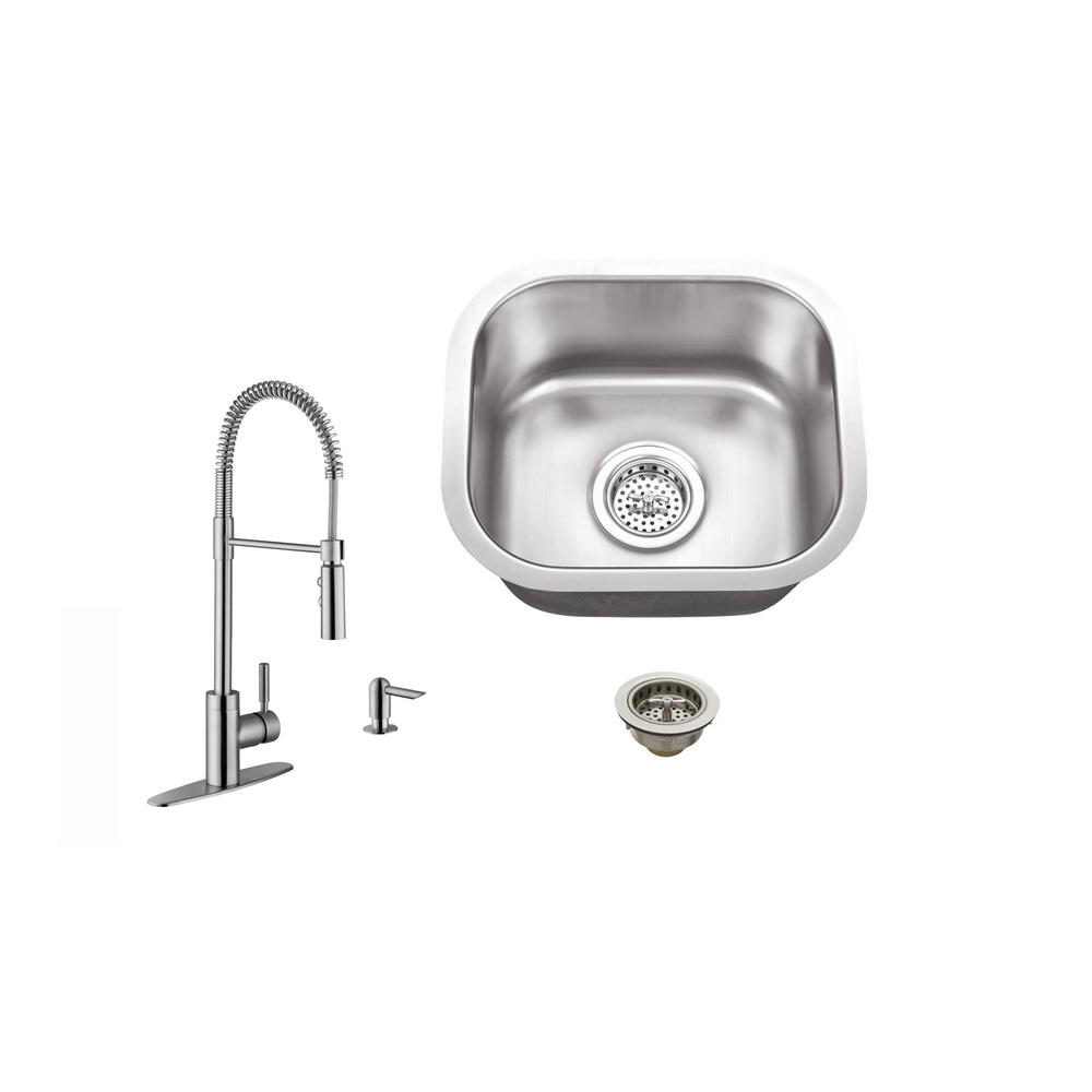 IPT Sink Company Undermount 15 in. 18-Gauge Stainless Steel Bar Sink in Brushed Stainless with Pull Out Kitchen Faucet