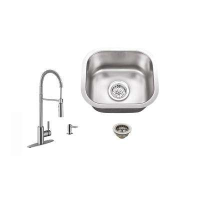 Undermount 15 in. 18-Gauge Stainless Steel Bar Sink in Brushed Stainless with Pull Out Kitchen Faucet