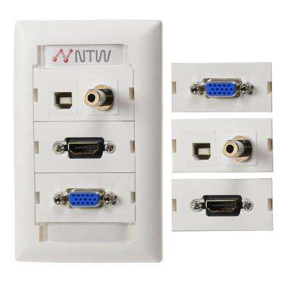 Customizable Unimedia HDMI Pigtail VGA, 3.5 mm Audio, USB Pass Through Wall Plate and ID Tag, White
