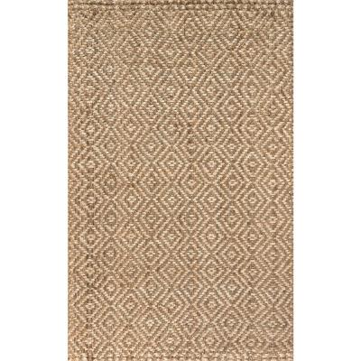 Natural 5 ft. x 8 ft. Hira Hand Woven Diamond Chunky Jute Area Rug