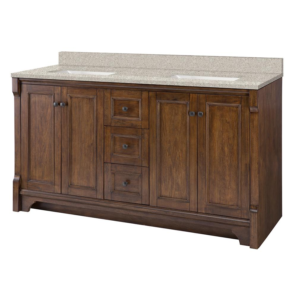 Home Decorators Collection Creedmoor 61 in. W x 22 in. D Vanity in Walnut with Engineered Marble Vanity Top in Sedona with White Sink