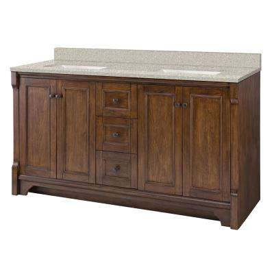 Creedmoor 61 in. W x 22 in. D Vanity in Walnut with Engineered Marble Vanity Top in Sedona with White Sink