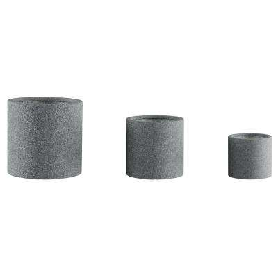 Gray Fiber Clay Cylinder Planters (3-Pack)