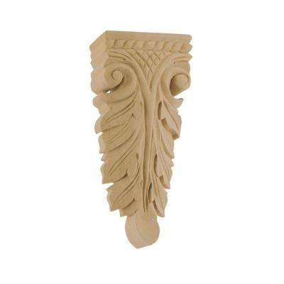 5-7/8 in. x 2-1/2 in. x 7/8 in. Unfinished Hand Carved North American Solid Alder Wood Onlay Acanthus Wood Applique