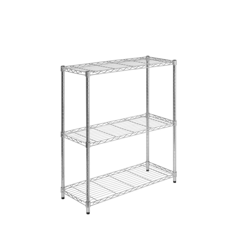 Honey-Can-Do 30 in. H x 24 in. W x 14 in. D 3-Shelves Steel Shelving Unit in Chrome (Grey) Create visible, accessible storage space instantly with Honey-Can-Do 3-Shelf Steel Shelving Unit. A brilliant chrome finish and steel frame make the unit a perfect blend of style and functionality. Durable enough for the mudroom, garage or commercial kitchen, the shelving is capable of withstanding an amazing 250 lbs. per shelf of evenly distributed weight and is NSF-rated for food equipment spaces including refrigerators, freezers and ware-washing areas. Adjustable shelves and stackable components allow you to change the configuration as your storage needs evolve, and you can also combine multiple units (each sold separately) to create a customized storage wall.