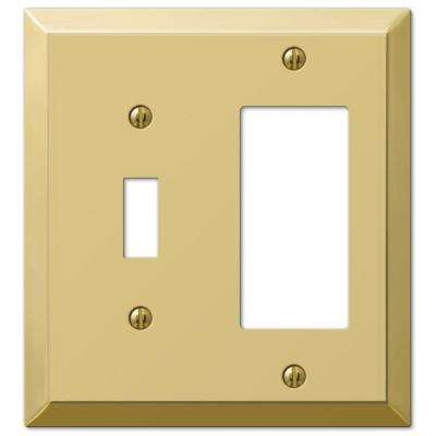 Steel 1 Toggle 1 Decora Wall Plate - Bright Brass