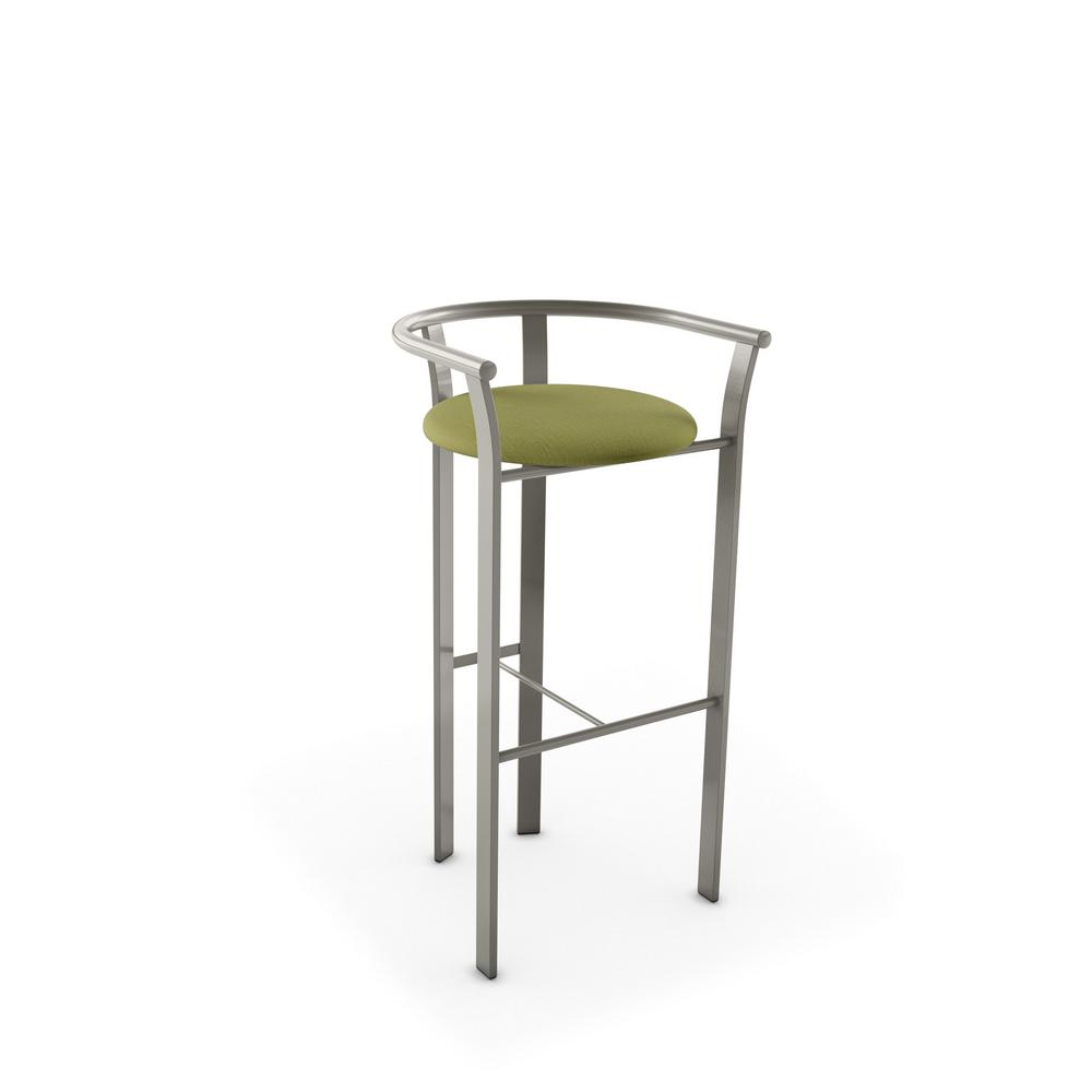 Light Grey Metal Green Fabric Barstool
