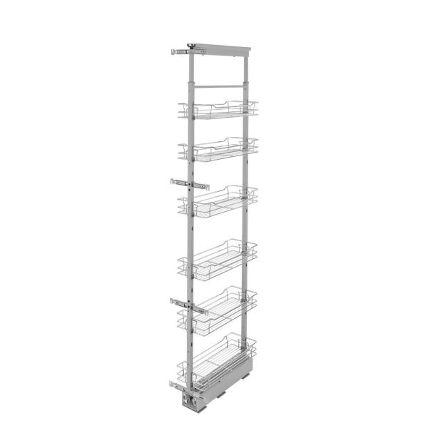 Rev-A-Shelf 8 in. Chrome 4-Basket Pull-Out Pantry with Soft-Close Slides