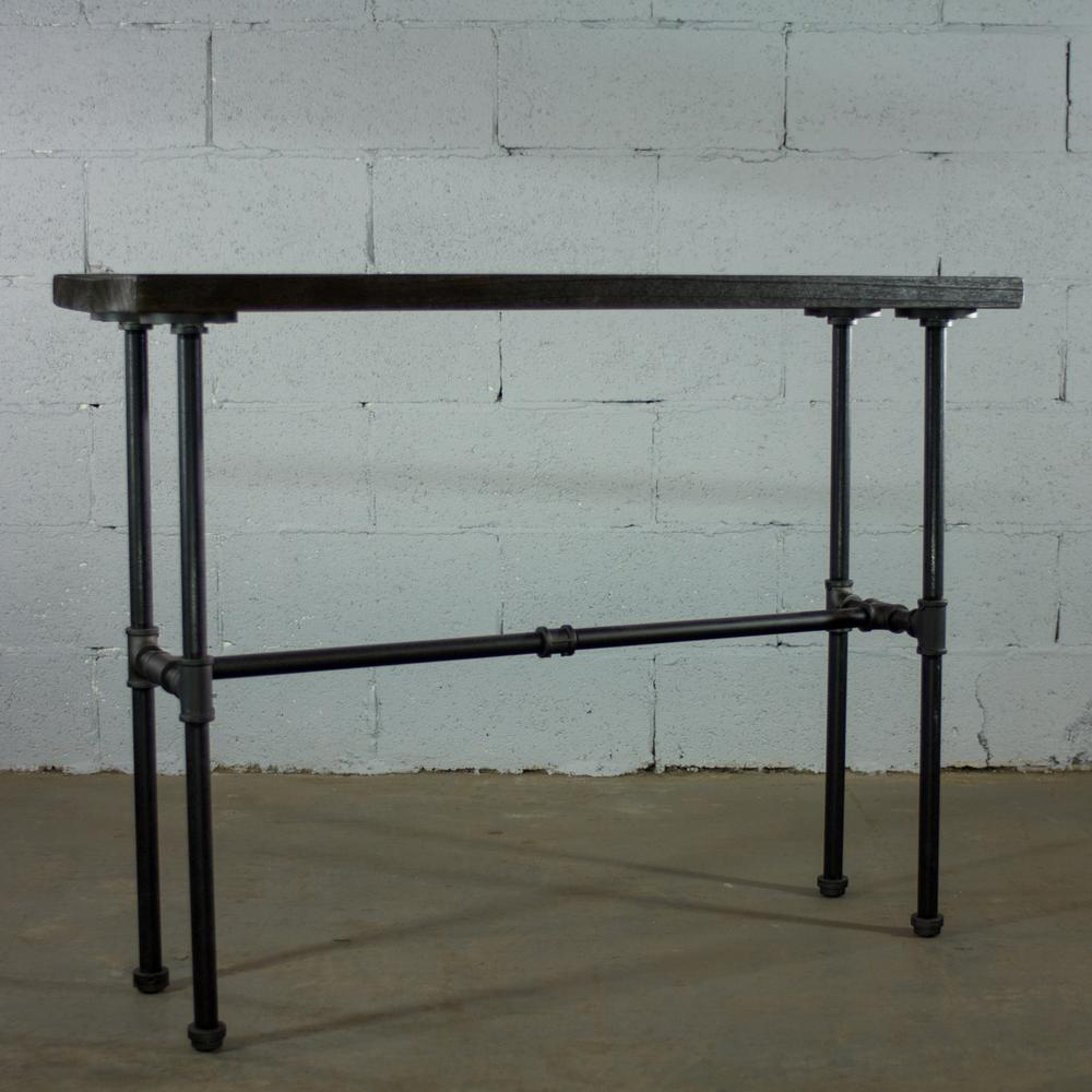 Furniture Pipeline Corvallis Black Pipe Entryway Console Sofa Hall Table Metal Reclaimed Aged Wood St1 Bl The Home Depot