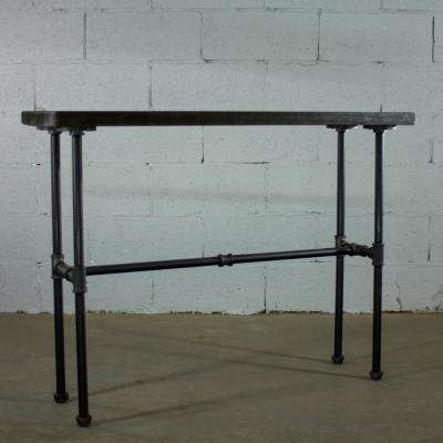 Corvallis Industrial, Black Pipe Entryway/Console/Sofa/Hall Table-Metal-Reclaimed/Aged Wood