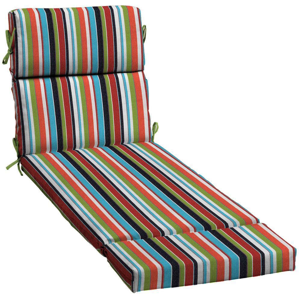 Striped Multi Colored Sunbrella Chaise Lounge Cushions