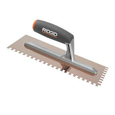 1/4 in. x 3/8 in. Square Notch Trowel with Golden Finish