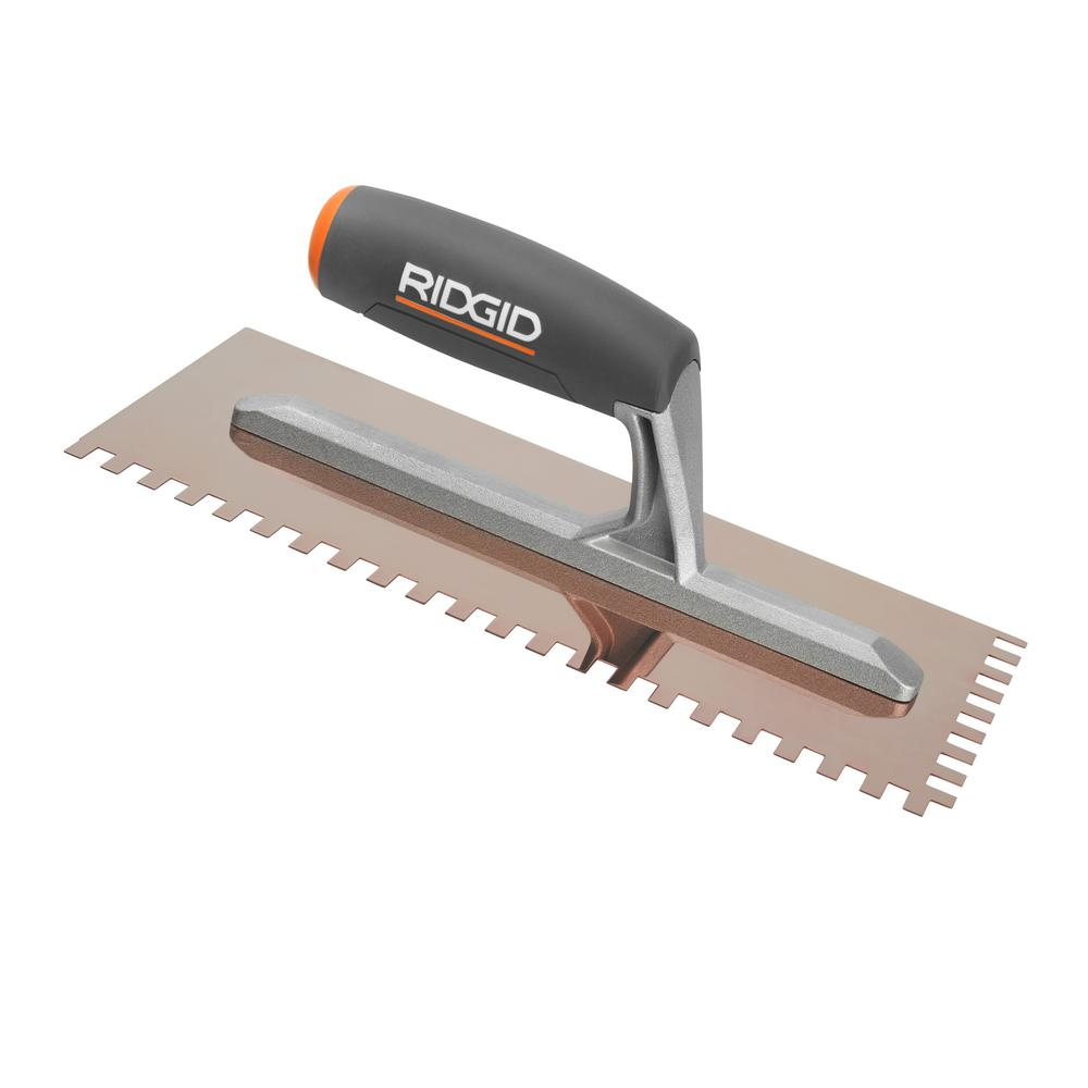 Notched Trowels Home Depot : Ridgid in sq notch trowel with golden