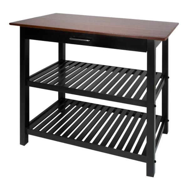 Casual Home 2-Tone (Black Base, Walnut Top) Kitchen Island with Solid