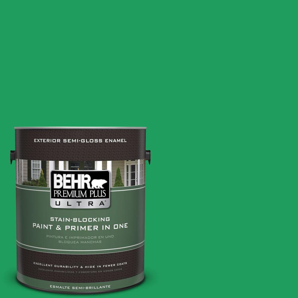 BEHR Premium Plus Ultra 1-gal. #S-G-450 Herbal Tea Semi-Gloss Enamel Exterior Paint