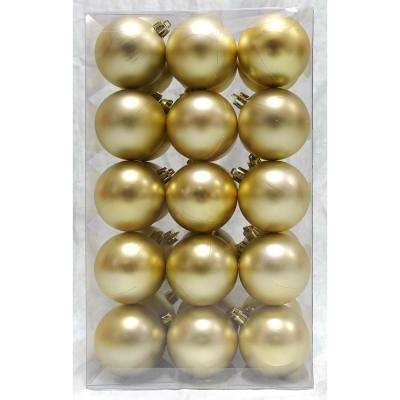 Holiday Traditions 2.3 in. Matte Shatterproof Ornament in Gold (30-Count)