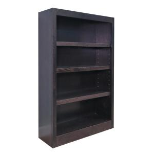 Midas Wood Bookcase, 4 Shelves, 48 in. H, Espresso Finish