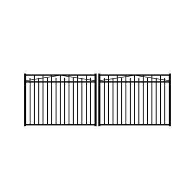 Adams 12 ft. W x 4.5 ft. H Black Aluminum 3-Rail Double Drive Fence Gate