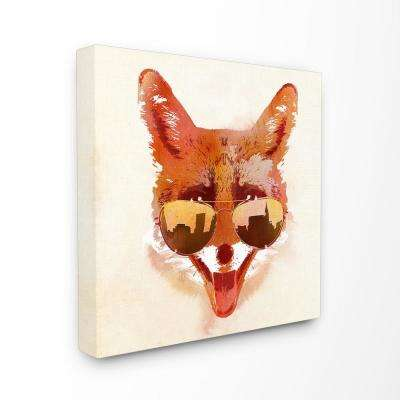 """30 in. x 30 in. """"Orange and Tan Painterly City Fox With Aviators"""" by Robert Farkas Canvas Wall Art"""