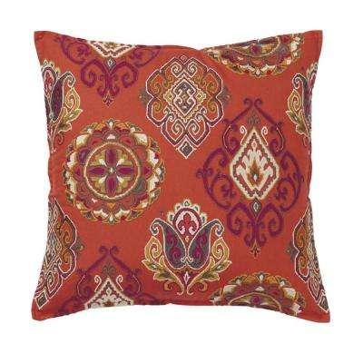 Embroidered Decorative Pillow Cover in Gold Medallion, 20 in. x 20 in.