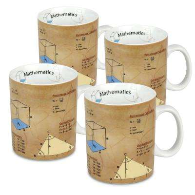 Konitz 4-Piece Mug of Knowledge Mathematics Porcelain Mug Set