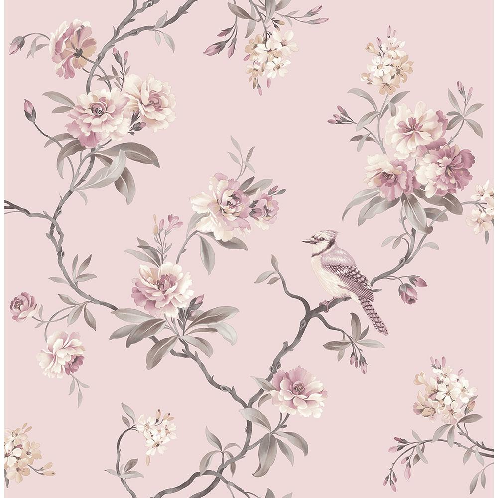 8 In X 10 In Chinoiserie Pink Floral Wallpaper Sample