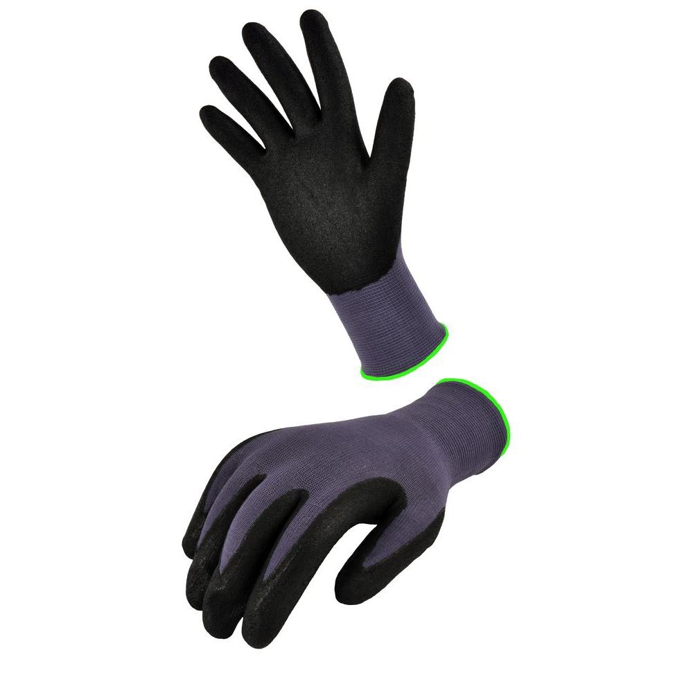 Seamless Knit Nylon Nitrile Large Black Form Coated Work Gloves (3-Pair)