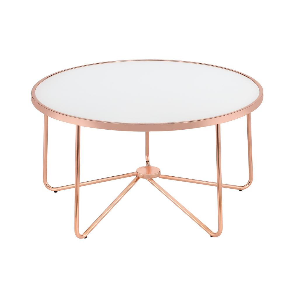 Acme Furniture Alivia Frosted Gl And Rose Gold Coffee Table