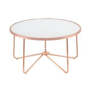 Acme Furniture Alivia Frosted Glass and Rose Gold Coffee Table by Acme Furniture