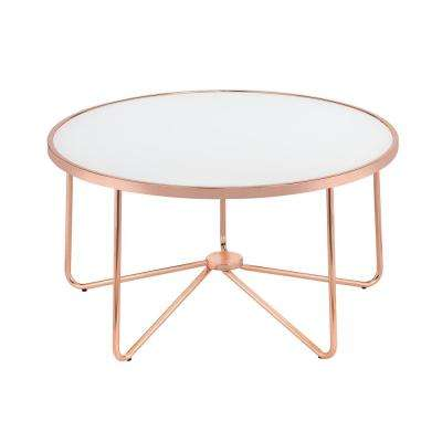 Alivia Frosted Glass and Rose Gold Coffee Table