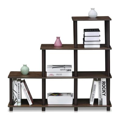36.7 in. Walnut/Brown Plastic 4-shelf Etagere Bookcase with Open Back