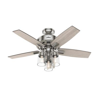 Bennett 44 in. Indoor Brushed Nickel Ceiling Fan with Light Kit and Remote Control