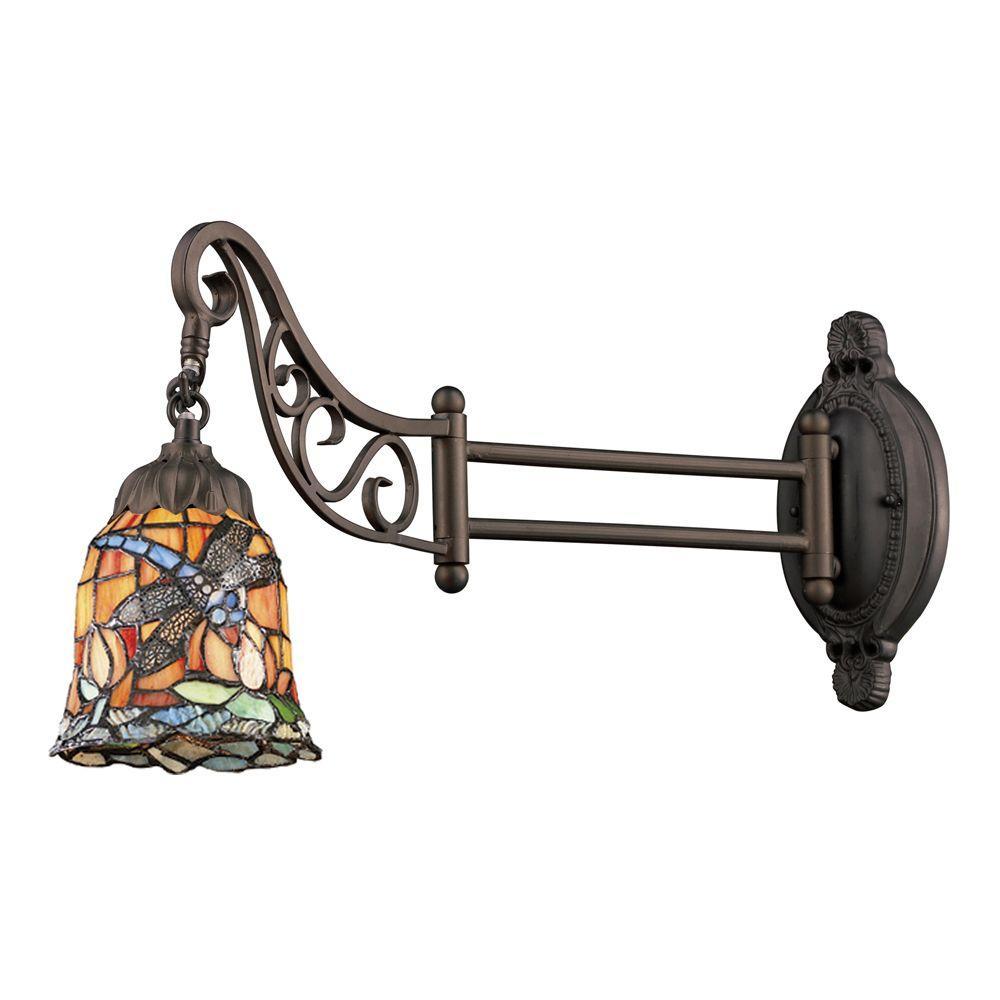 1-Light Tiffany Bronze Swingarm Wall Sconce