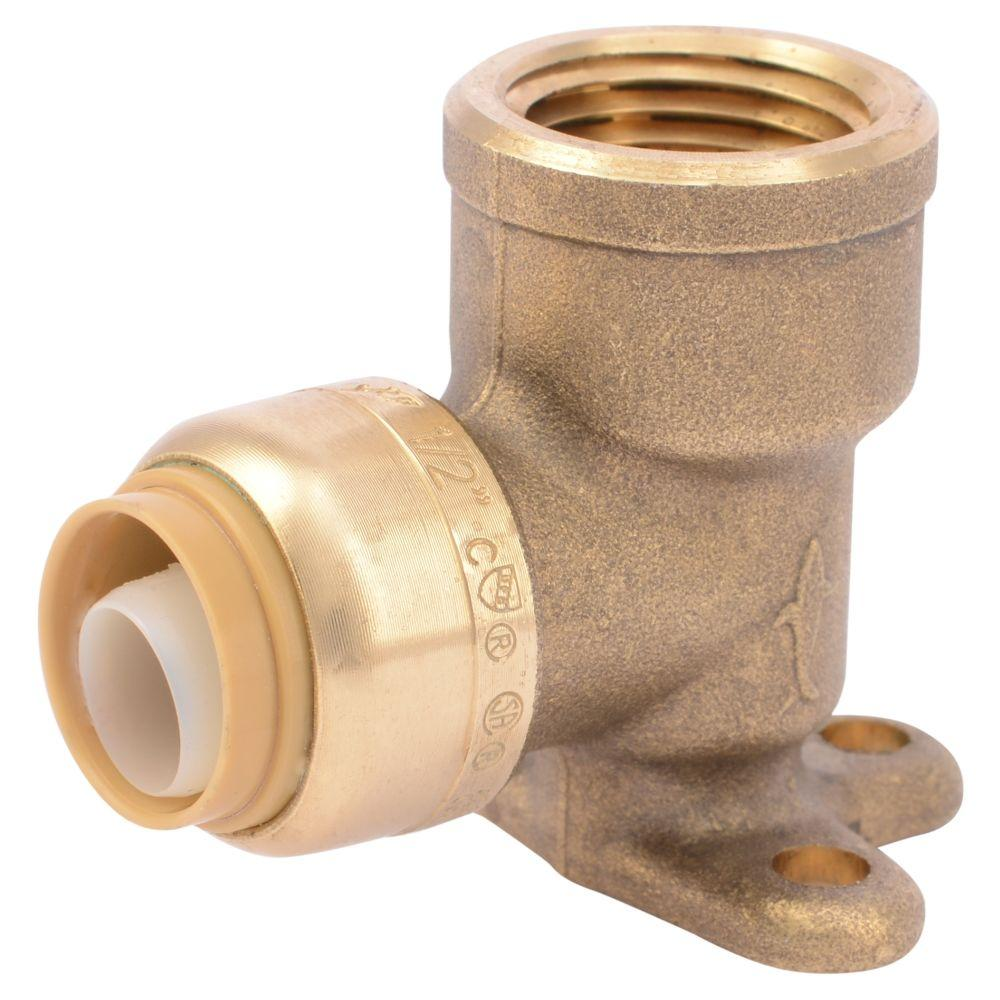 SharkBite 1/2 in. Push-to-Connect x FIP Brass 90-Degree Drop Ear Elbow Fitting
