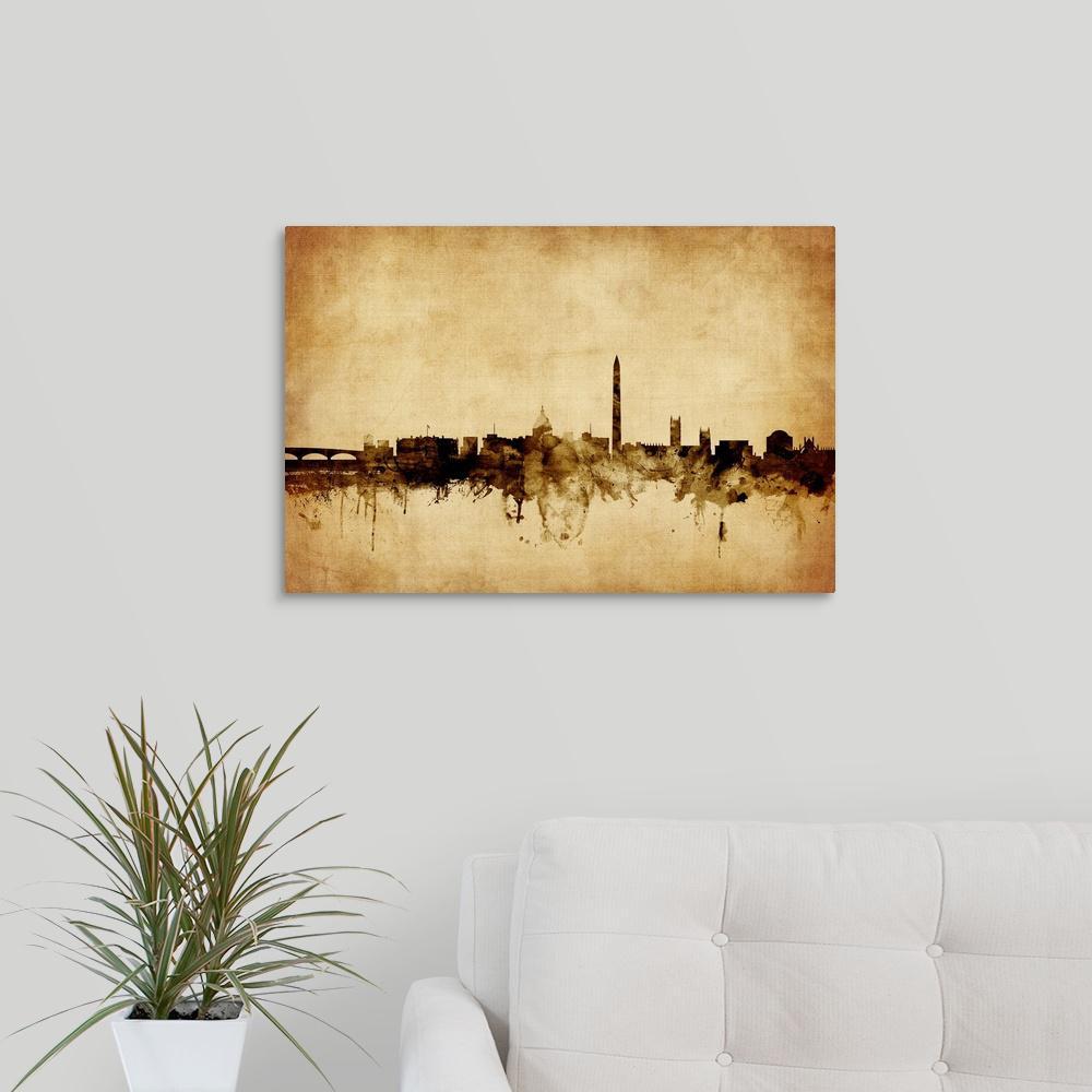 "24 in. x 16 in. ""Washington DC Skyline"" by  Michael Tompsett Canvas Wall Art"