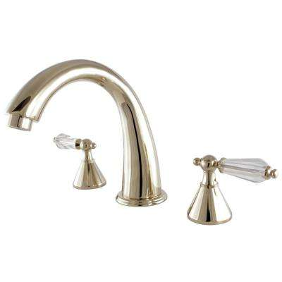 Crystal 2-Handle Deck-Mount Roman Tub Faucet in Polished Brass