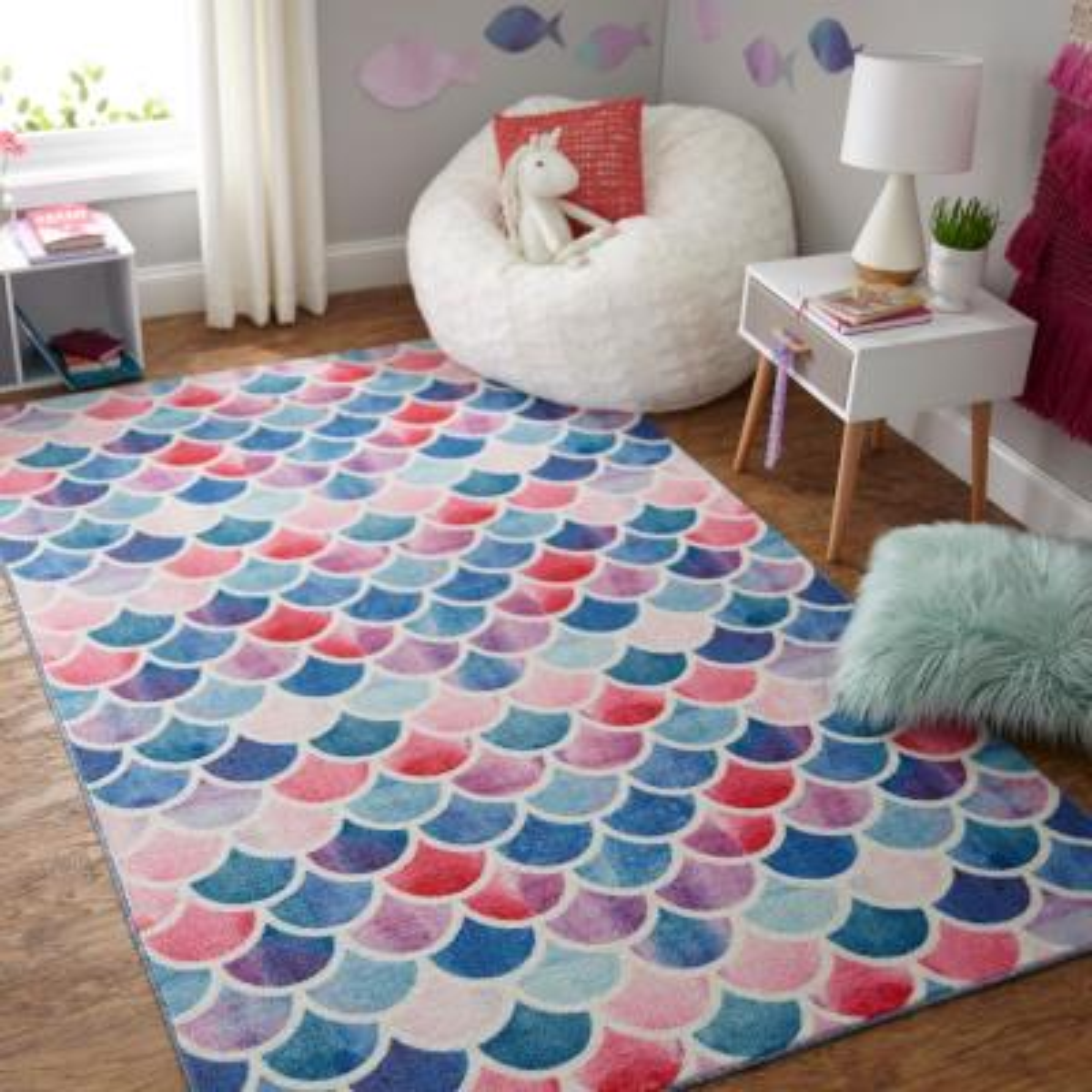 Mermaid Scales Pink 5 ft. x 8 ft. Geometric Area Rug