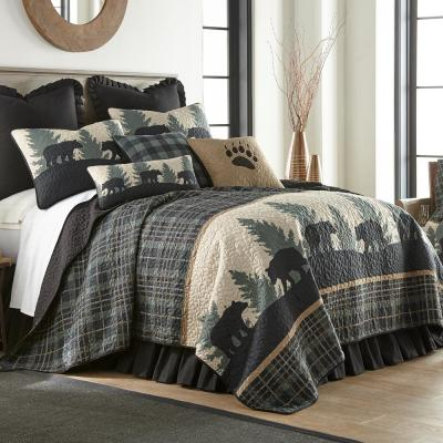 Bear Walk Plaid Green Microfiber Twin Quilt Set (2-Piece)