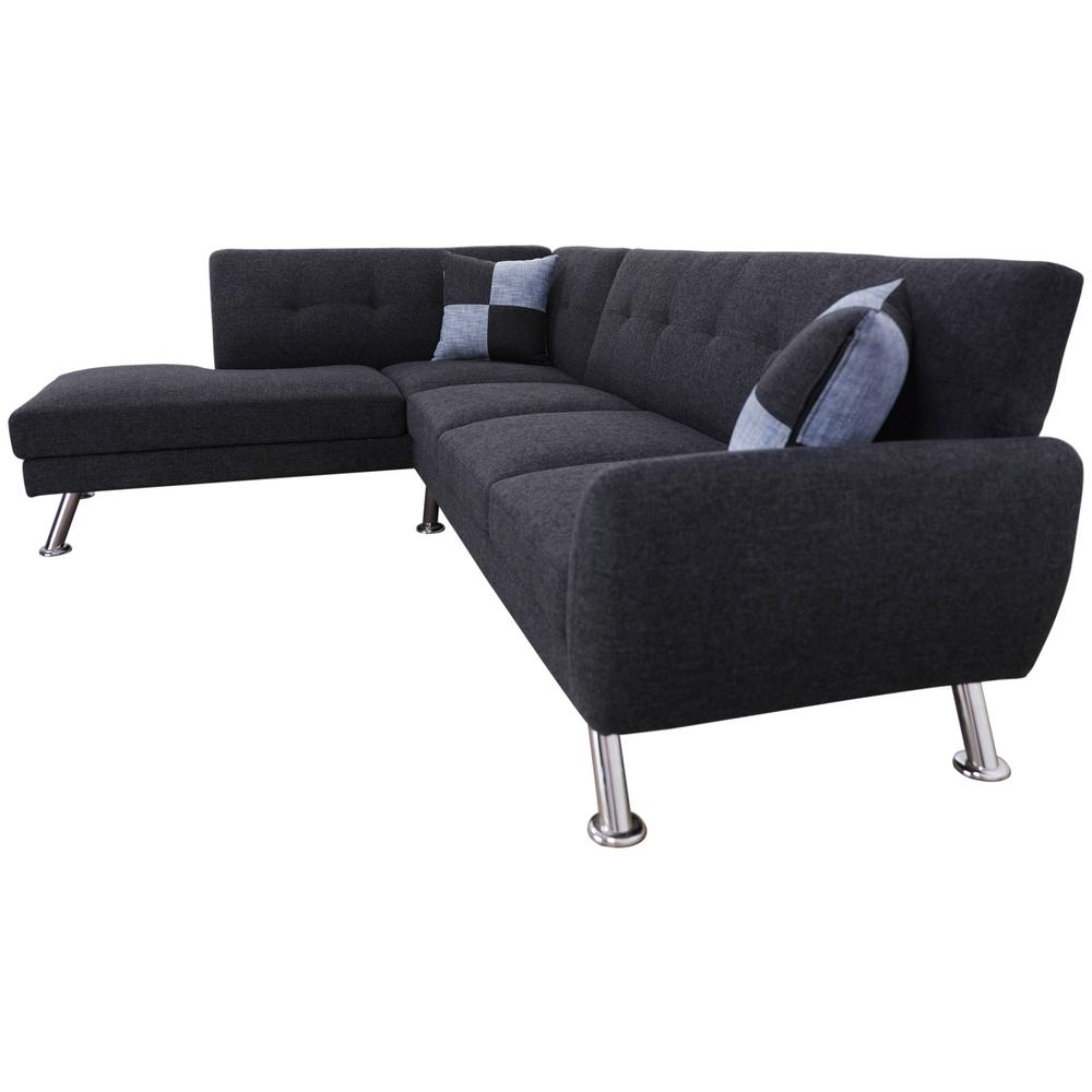 Cam Black Grey Left Facing Sectional Sofa With Ottoman