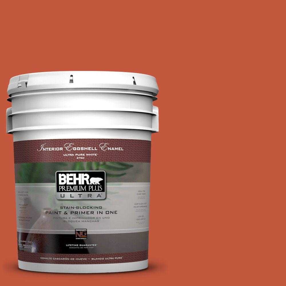 BEHR Premium Plus Ultra 5-gal. #BIC-31 Fire Coral Eggshell Enamel Interior Paint
