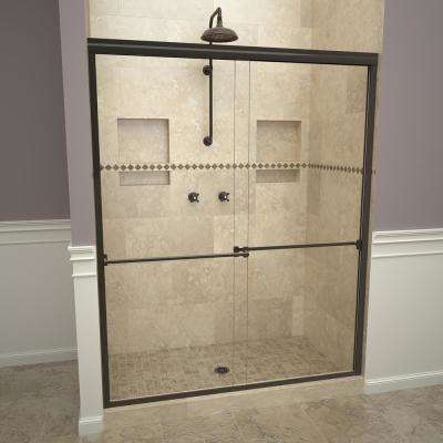 1000 Series 60 in. W x 70 in. H Semi-Frameless Sliding Shower Doors in Oil Rubbed Bronze with Towel Bar and Clear Glass