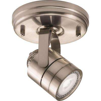 Meshback Round 1-Light Brushed Nickel LED Lamped Track Lighting Kit