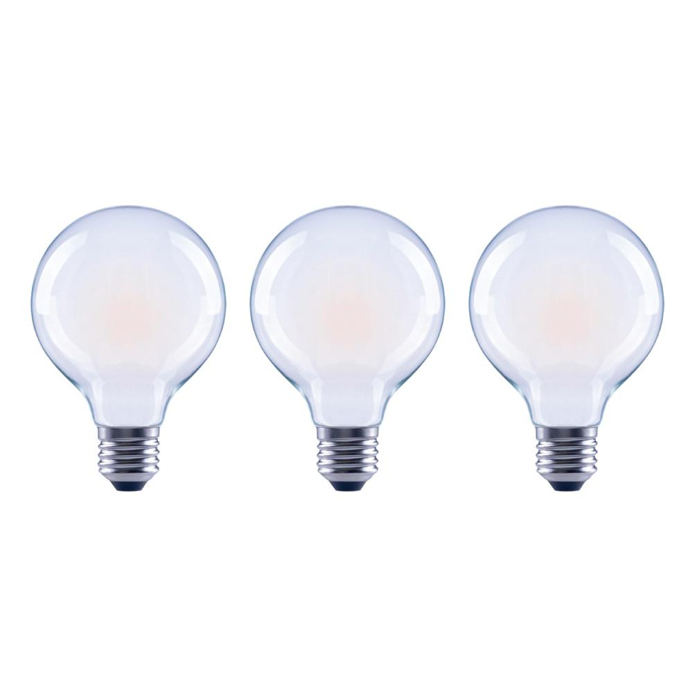 EcoSmart 60-Watt Equivalent G25 Globe Dimmable Energy Star Frosted Glass Filament Vintage Style LED Light Bulb Daylight (3-Pack)