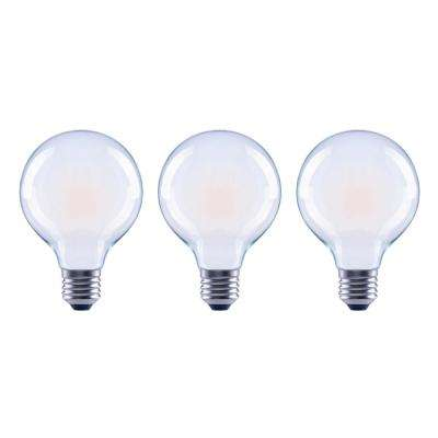 60-Watt Equivalent G25 Globe Dimmable Energy Star Frosted Glass Filament Vintage Style LED Light Bulb Daylight (3-Pack)