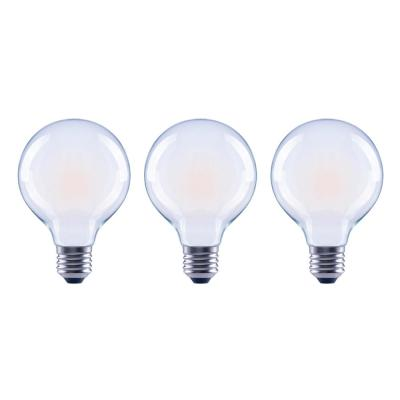 60-Watt Equivalent G25 Globe Dimmable ENERGY STAR Frosted Glass Filament Vintage LED Light Bulb Daylight (3-Pack)