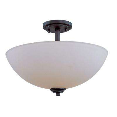 Lawrence 3-Light Oil Rubbed Bronze Modern Ceiling Flush Mount with Round Matte Opal Glass Shade