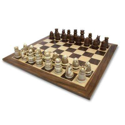 Medieval Polystone Pieces with a Wooden Board 15 in. Chess Set