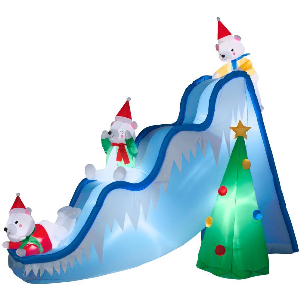 Inflatable Christmas Tree.National Tree Company 7 3 Ft Inflatable Holiday Fun Slide