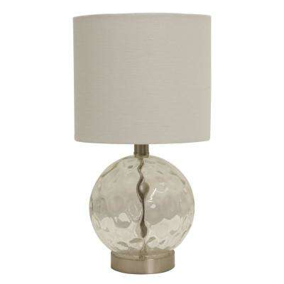Holland 16.75 in. Coastal Glass Clear Orb Table Lamp with Shade